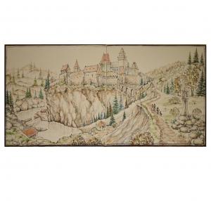 Гладкий изразец с изображением замка